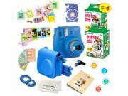 Fujifilm Instax Mini 9 (Cobalt Blue)  Deluxe kit bundle Includes -Instant camera with Instax mini 9 instant films (40 pack) - Custom Camera Case - instax Album