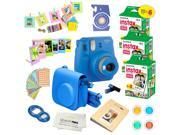 Fujifilm Instax Mini 9 (Cobalt Blue)  Deluxe kit bundle Includes -Instant camera with Instax mini 9 instant films (60 pack) - Custom Camera Case - instax Album