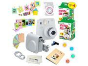 Fujifilm Instax Mini 9 (Smokey White)  Deluxe kit bundle Includes -Instant camera with Instax mini 9 instant films (40 pack) - Custom Camera Case - instax Album