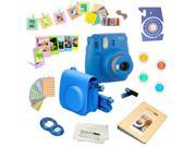 Fujifilm Instax Mini 9 (Cobalt Blue) Deluxe kit bundle Includes -Instant camera - Custom Camera Case - instax Album - Frames -Wall Hang Frames- Stickers - Close