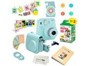 Fujifilm Instax Mini 9 (Ice Blue)  Deluxe kit bundle Includes -Instant camera with Instax mini 9 instant films (20 pack) - Custom Camera Case - instax Album – F