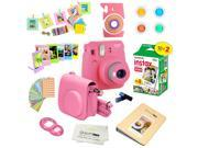 Fujifilm Instax Mini 9 (Flamingo Pink)  Deluxe kit bundle Includes -Instant camera with Instax mini 9 instant films (20 pack) - Custom Camera Case - instax Albu