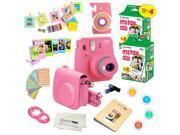 Fujifilm Instax Mini 9 (Flamingo Pink)  Deluxe kit bundle Includes -Instant camera with Instax mini 9 instant films (40 pack) - Custom Camera Case - instax Albu