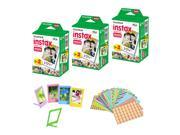 Fujifilm Instax Mini Instant Film, 3 Twin Packs (60 Sheets)+ Frames & Stickers