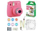 Fujifilm Instax Mini 9 Instant Camera (Flamingo Pink) + 10 Fuji Instant Film Sheets + Convenient Instax Clear Case W/ Rainbow Strap + 6-Color Lenses & More