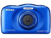 "Nikon 26496 Coolpix S33 Waterproof Digital Compact Camera 13.2 Megapixel - Blue - 2.7"" LCD - 16:9 - 3x Optical Zoom - 4x - Digital (IS) - TTL - 4160 x 3120 Image - 1920 x 1080 Video - HDMI - HD ..."