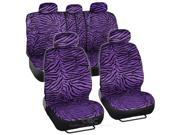 Purple Animal Print Zebra Seat Covers Set w/ Split Bench for CAR SUV VAN