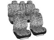 Car Seat Covers White Zebra Bench Split Option 5 Headrests Accessories