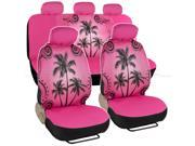 Car Seat Covers Pink Palm Tree Design Universal Fit Full Set W/ Auto Accessory