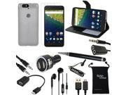 Google Nexus 6P Case and Accessories - Black Leather Wallet Cover + TPU + Chargers