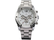 KS White Dial Elegant Automatic Mechanical Mens Wrist Watch Day/Date Fuction