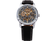 Classic Mens Automatic Mechanical Brown Leather Strap Skeleton Wrist Watches
