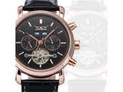 JARAGAR Automatic Mechanical Mens Classic Black Tourbillion Date Day Leather Sport Wrist Watch