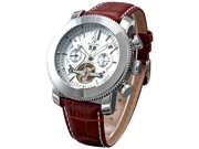 KS Automatic Mechanical Mens Leather White Dial Luxury Wrist Watch