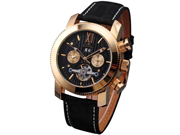 KS Golden Tourbillon Automatic Mechanical Black Leather Mens Watch