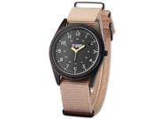 SHARK ARMY Black Dial Mens Khaki Nylon Military Outdoor Sport Quartz Wrist Watch