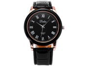 New Black DALAS Rose Gold Bezel Roman Analog Leather Men Sport Quartz Watch Gift
