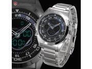 Shark Mens Digital Analog Date Day Stopwatch Alarm Silver Stainless Steel Quartz Sport Watch SH148