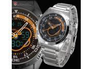 Goblin Shark Digital Analog Date Day Stopwatch Alarm Silver Stainless Steel Quartz Sport Watch SH150
