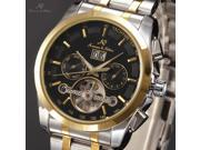 KS Gold Tourbillion Automatic Date Day Month Stainless Steel Band Men's Mechanical Watch KS193