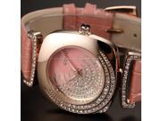 Timebear Bling Crystal Rose Gold Case Women Lady Quartz Pink Leather Strap Wrist Watch WK1193
