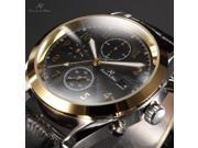 KS Men's Automatic Mechanical Date Day Month Gold Tone Case Black Leather Band Wrist Watch KS176