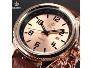 Luxury Mens Date Display Japanese Quartz Brown Leather Band Dress Wrist Watch ORK195