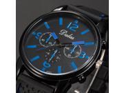Timebear Fashion Blue Black Silicone Strap Men's Analog Quartz Sport Wrist Watch WAA754