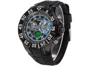 Timebear Dual Core Time Date Day Analog Digital Mens Black Rubber Sport Quartz Wrist Watch OHS228