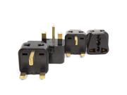 OREI 2 in 1 USA to UK/Hong Kong Adapter Plug (Type G) - 4 Pack, Black
