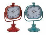 BENZARA 34895 Durable Metal Clock in Red and Green Color Set of 2