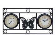 BENZARA 35430 Clock Thermometer with Bold Metal Butterfly Motif