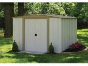 ARROW SHEDS ASIBD88 BEDFORD 8FT X 8FT STEEL EGGSHELL and TAUPE- DOOR=W43.5IN X H58IN 9SIV04Z4XP3683