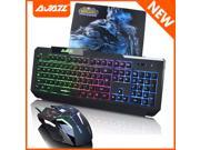 Ajazz God X5+ War Rainbow Backlit Illuminated Waterproof Ergonomic Multimedia Gaming Keyboard + The Dark Knight 2400DPI 8D 6 Buttons Optical Usb Gaming Mouse + WOW The Lich King Gaming Mouse Pad SET