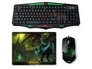 SUNT AK93 Green Backlit Waterproof Ergonomic Multimedia Gaming Keyboard + 6D 6 Buttons Optical USB Molten Gaming Mouse + Gaming Mouse Pad Set