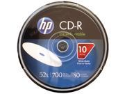 HP CR52WJH010CB 700MB 80 Minute 52x Printable CD Rs 10 ct Cake Box Spindle