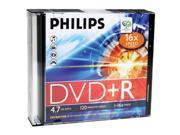PHILIPS DR4S6S05F/17 4.7GB 16x DVD+Rs with Slim Jewel Cases, 5 pk
