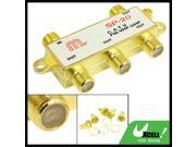 Television 4 Way Coaxial Connector CATV Directional Splitter Gold Tone