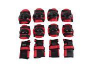 Unique Bargains Kid Roller Skating Elbow Knee Palm Brace Support Protector Red Black 2 Sets