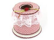 Unique Bargains Flower Accent Top Plastic Pink Round Tissue Box Holder