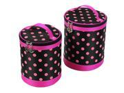 2 Pcs Travel Zipper Closure Fuchsia Dotted Printed Make up Cosmetic Bag Black