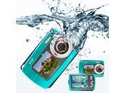 SVP AQUA Underwater 18MP Digital Camera + Camcorder w/ Dual LCDs Display + 8GB MicroSD (Blue)