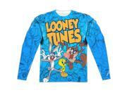 Looney Tunes Collage Of Characters (Front/Back Print) Mens Long Sleeve Sublimation Shirt