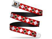 Power Rangers Logo Full Color Red Ranger Diamonds Webbing Seatbelt Belt Seatbelt Belt 9SIA29265H7325