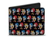 Sonic Classic Sonic Knuckles Tails Pose Repeat Bi Fold Wallet