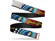 Blank Chrome Buckle Wonder Woman Face W Stars Webbing Web Belt 9SIA29265H3331