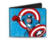 Marvel Comics Captain America Action Pose + Captain America Weathered Blue Bi-Fold Wallet 9SIA29265H9300