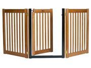 Walk Through 3 Panel Free Standing Pet Gate Mahogany