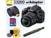 NIKON D3200 24.2 MP CMOS Digital SLR Camera (Black) with 18-55mm f/3.5-5.6 AF-S DX VR NIKKOR Zoom Lens + Nikon WU-1a Wireless Mobile Adapter + 16GB Accessory Ki
