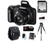 CANON PowerShot SX170 IS 16MP Digital Camera with 16x Optical Zoom and 3-inch LCD in Black + 8GB SDHC + Compact Camera Case + Mini Tripod + Accessory Kit